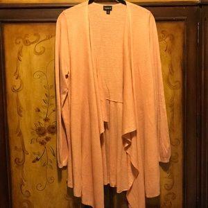 Pink drape front open cardigan